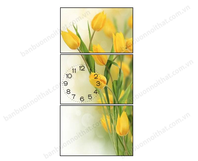 Mẫu tranh dọc đồng hồ hoa Tulip vàng kiêu sa, trang nhã