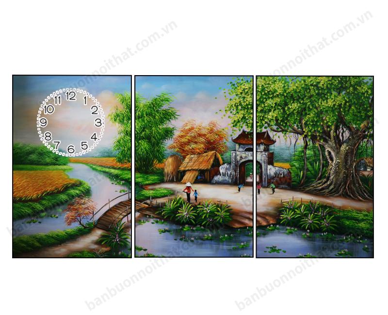Mẫu tranh đồng hồ phong thủy phong cảnh làng quê kích thước cơ bản 40x60cm x3