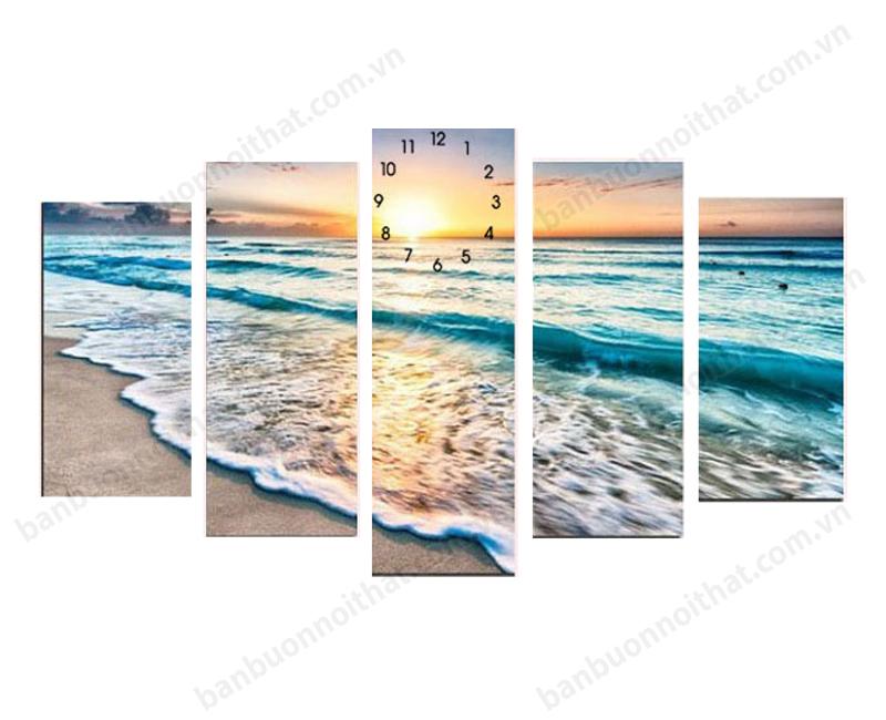 Tranh đồng hồ phong cảnh bình minh trên biển
