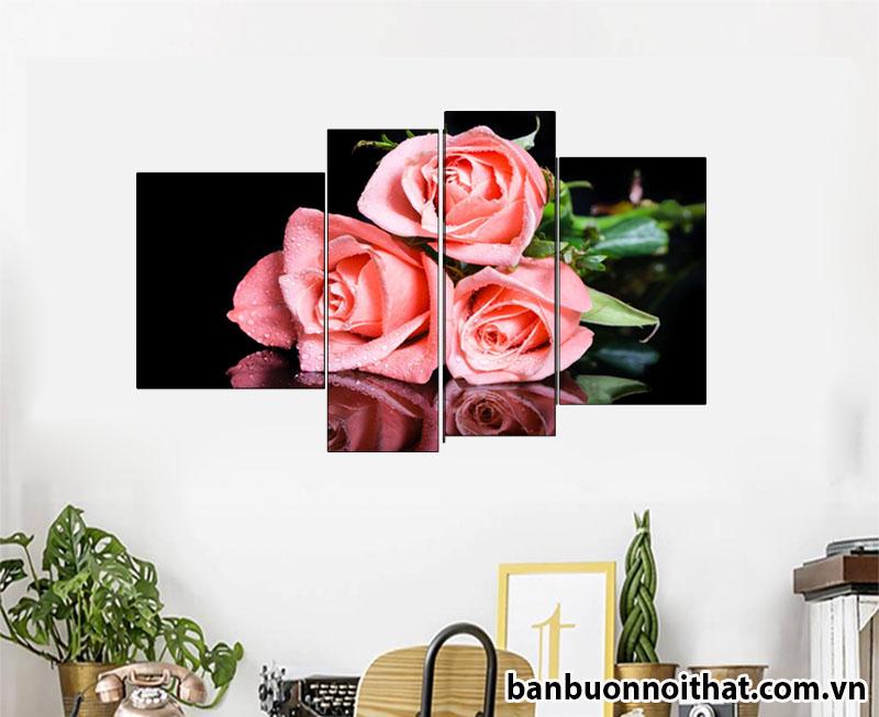 Tranh hoa hồng ghép bộ không đồng hồ trang trí phòng khách