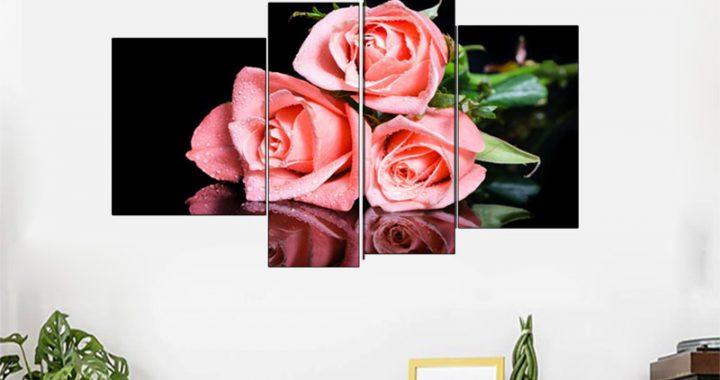 Mẫu tranh hoa hồng trang trí khách sạn hiện đại