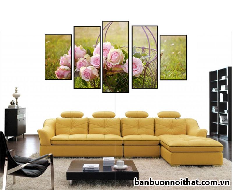 Tranh đồng hồ hoa hồng nền xanh cây cỏ lãng mạn hợp trang trí không gian phòng khách trẻ