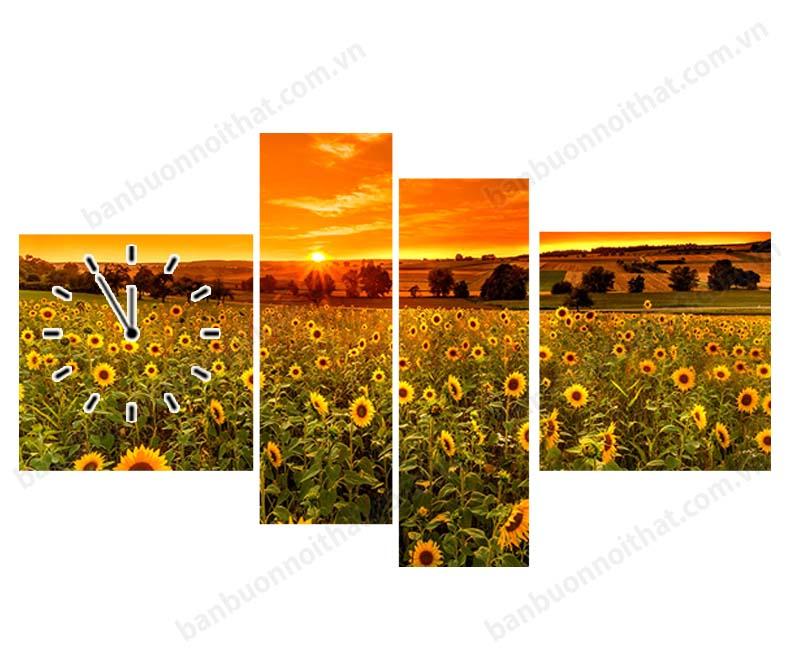 Tranh đồng hồ treo tường hoa hướng dương mang ý nghĩa phong thủy no đủ, thịnh vượng