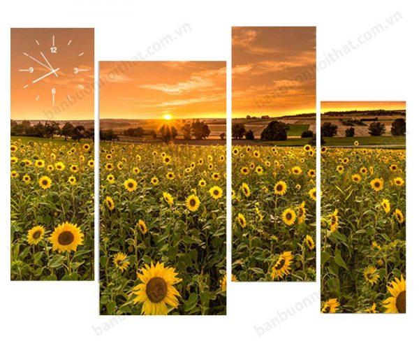 Tranh đồng hồ phong thủy cánh đồng hoa hướng dương mang màu sắc hỏa sẽ hỗ trợ người mang mệnh hỏa