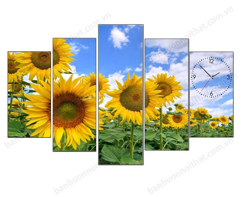 Mẫu tranh đồng hồ phong thủy hoa hướng dương đón nắng đẹp mê