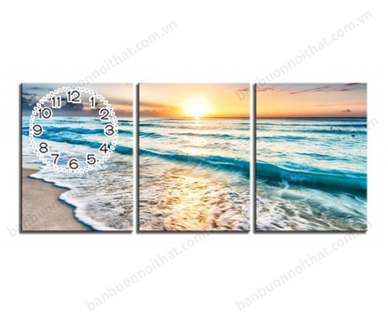 Mẫu tranh đồng hồ phong cảnh biển ghép bộ 3 miếng