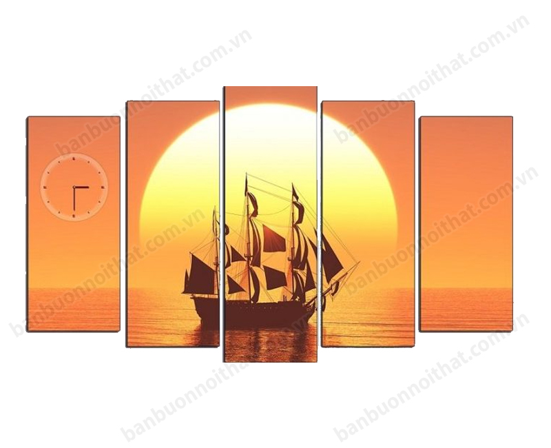 Tranh đồng hồ phong cảnh biển bình minh màu cam