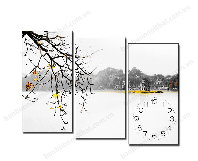 Mẫu tranh đồng hồ phong cảnh Hà Nội đẹp sáng mùa thu