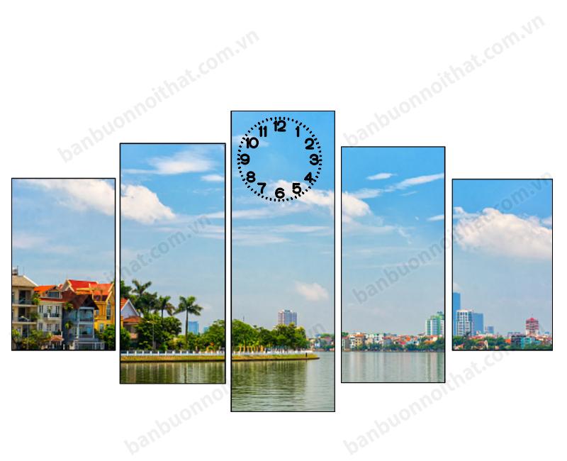 Mẫu tranh đồng hồ ghép 5 miếng phong cảnh Hồ Tây Việt Nam