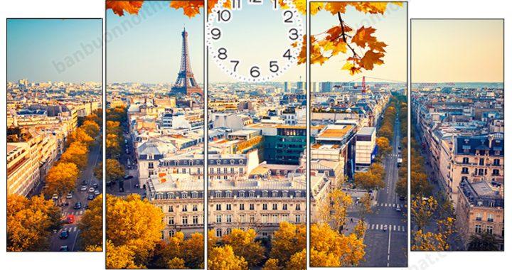 Tranh đồng hồ phong cảnh mùa thu đẹp, nơi bán, địa chỉ bán
