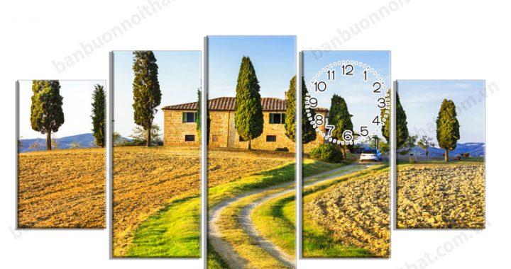 Tranh đồng hồ phong cảnh thiên nhiên đẹp, mẫu tranh, địa chỉ bán