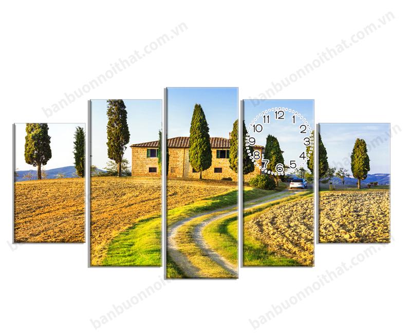 Mãu tranh đồng hồ phong cảnh thiên nhiên mùa hè Châu Âu