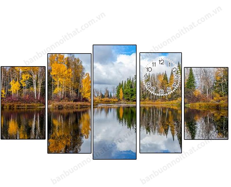 Tranh đồng hồ phong cảnh mùa thu đẹp, trang trí nhà theo phong cách Bắc Âu