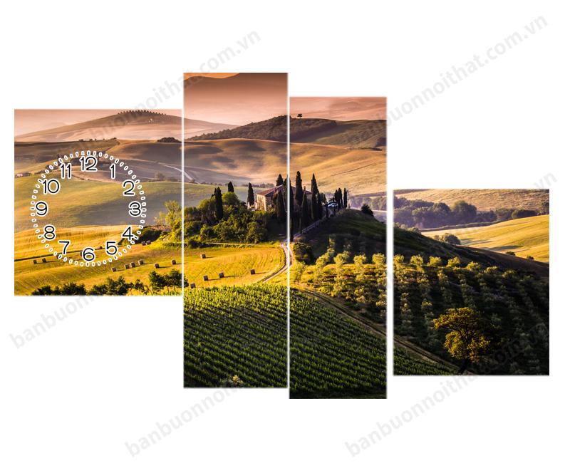 Mẫu tranh đồng hồ phong cảnh thiên nhiên mùa hè Italy