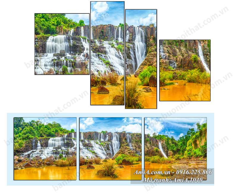 Mẫu tranh đồng hồ phong cảnh thiên nhiên thác nước bản giốc