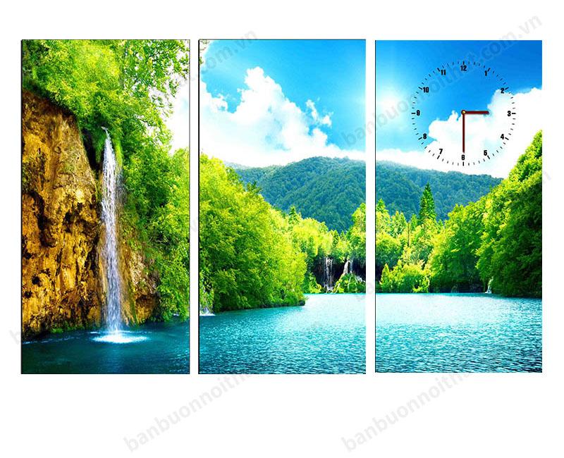 Tranh đồng hồ phong thủy thác nước ghép khổ nhỏ trang trí phòng khách chung cư