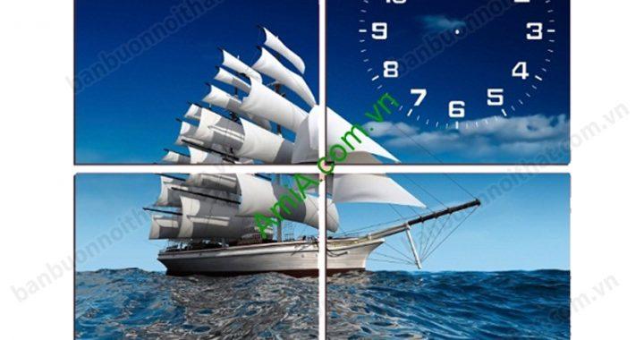 Tranh đồng hồ phong cảnh thuyền buồm mang lại may mắn, tài lộc cho gia chủ