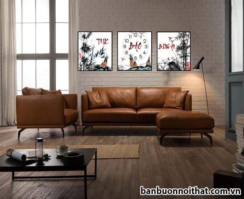 Mẫu tranh in canvas có đồng hồ phong thủy