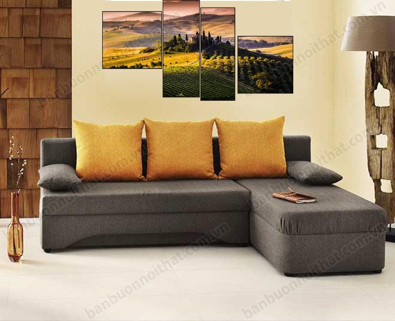 Tranh ghép bộ hiện đại kết hợp trang trí cùng sofa nỉ chữ L