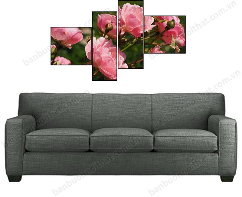 Sofa văng kết hợp tranh ghép bộ hiện địa hoa hồng