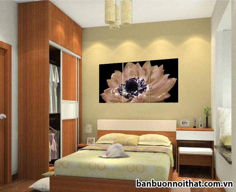 Một màu sắc khác của mẫu tranh treo tường hiện đại trong phong ngủ sang trọng