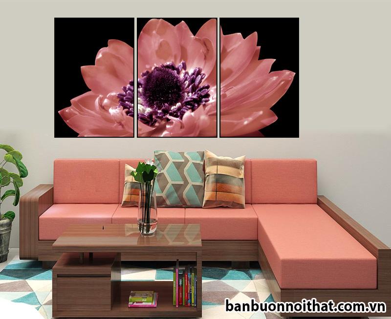 Mẫu tranh treo tường hiện đại SH01 sinh ra để kết hợp cùng sofa gỗ phối nỉ hồng