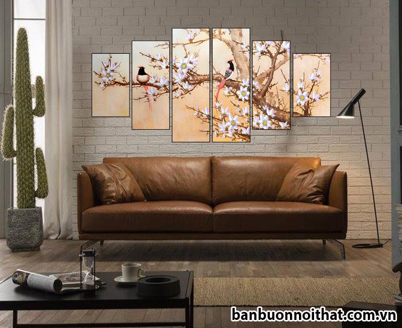 Tranh treo tường hiện đại kết hợp sofa văng da đẹp