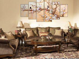 Mẫu tranh treo tường hiện đại kết hợp nội thất tân cổ điển