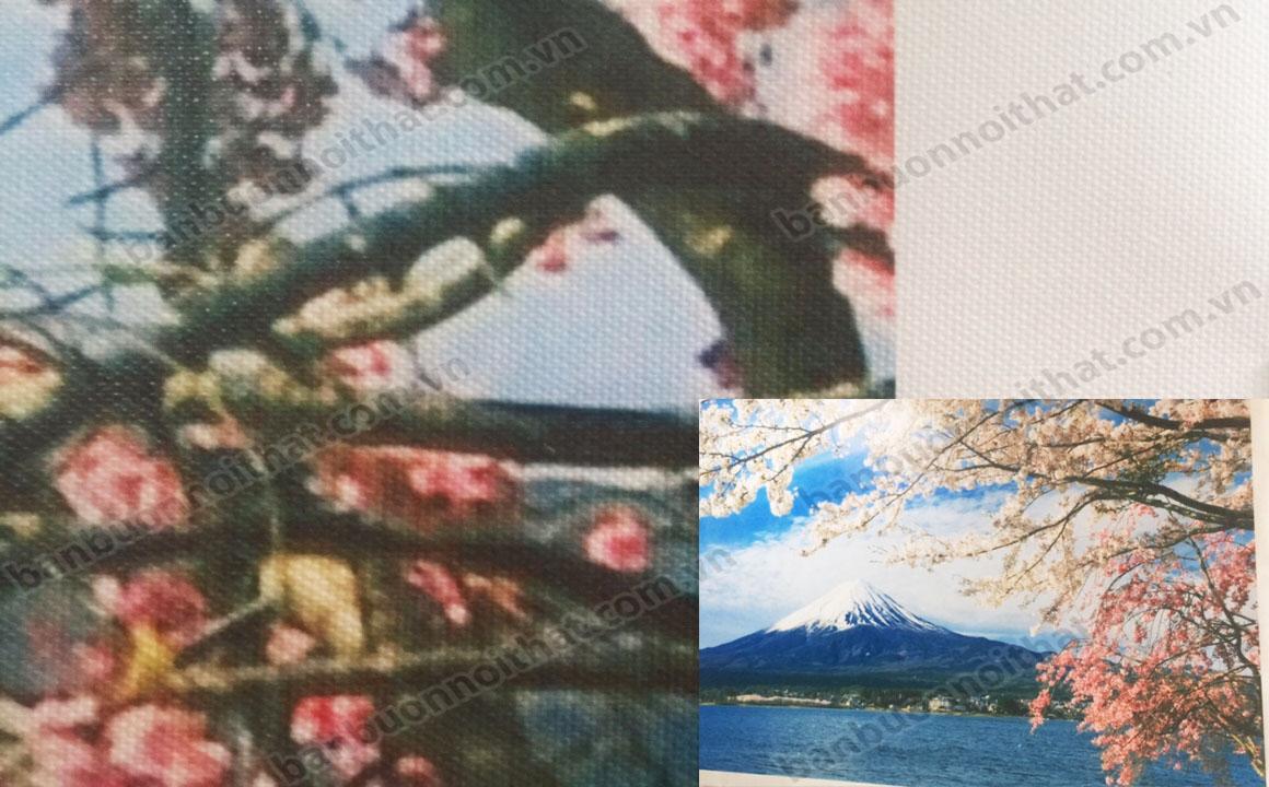 Vải để in tranh canvas được xử lý nhẵn để có thể bám mực in tốt hơn cũng như bảo vệ tranh tránh bị nước hạn chế ố vàng