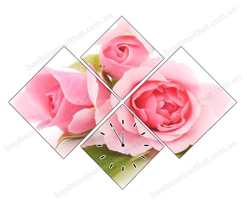 Tranh đồng hồ hoa hồng khổ nhỏ trang trí không gian nhỏ