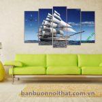 Tranh đồng hồ phong thủy thuận buồm xuôi gió Amia 330 tại xưởng sản xuất tranh
