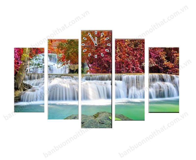 Hình ảnh mẫu tranh đồng hồ thác nước đỏ