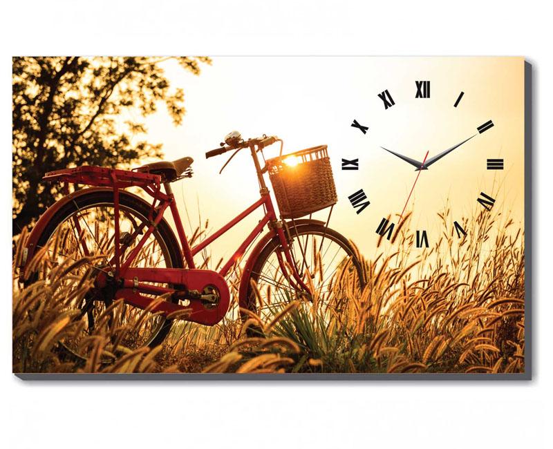 Mẫu tranh đồng hồ để bàn xe đạp Vintage thích hợp trang trí bàn làm việc cho cô nàng lãng mạn