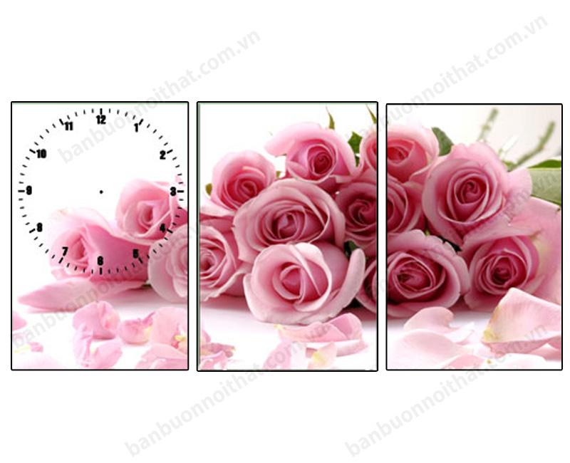 Tranh đồng hồ in ép gỗ hoa hồng tại xưởng sản xuất tranh đồng hồ Amia
