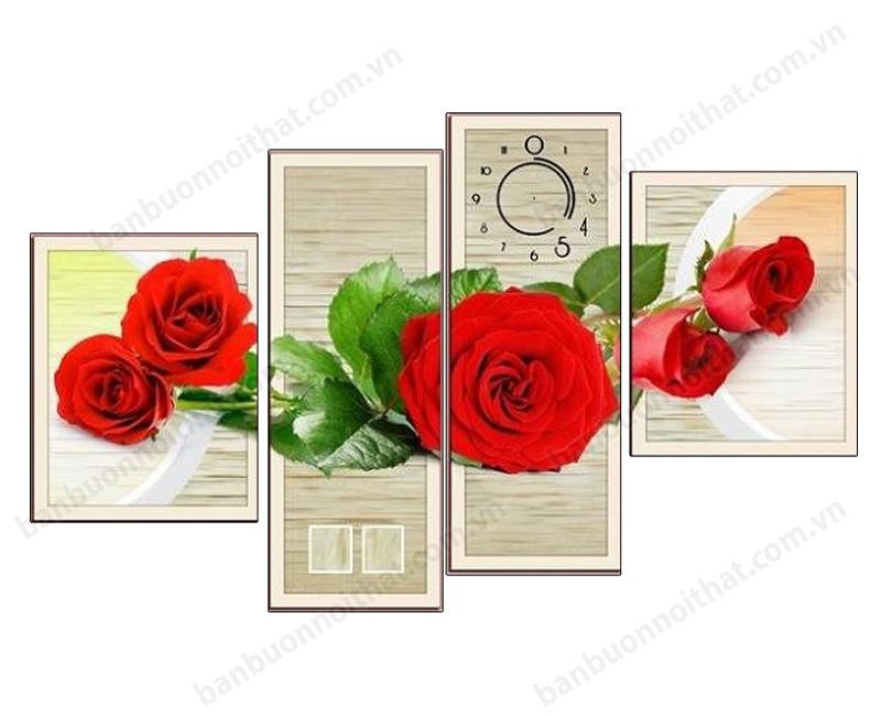 Mẫu tranh đồng hồ hoa hồng đỏ ghép đồng hồ đẹp treo phòng ngủ vợ chồng