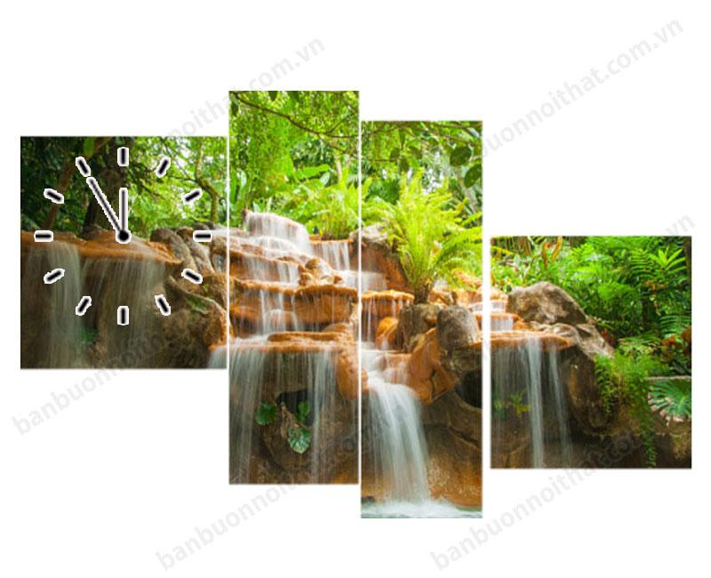 Mẫu tranh đồng hồ thác nước phong thủy in ép gỗ ghép 4 tấm