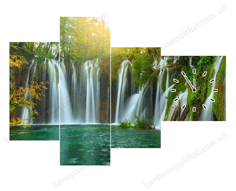 Tranh đồng hồ thác nước thiết kế bất cân đối tạo hình khối khác lạ