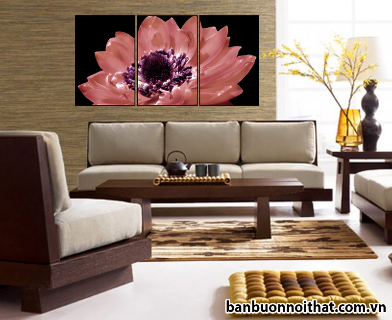 Mẫu tranh hoa sen đẹp trang trí phòng khách tinh tế sang trọng