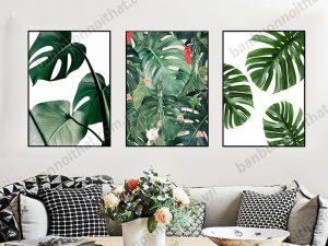 Hình ảnh mẫu tranh lá cây đẹp trang trí phòng khách, nơi bán địa chỉ bán tranh đẹp