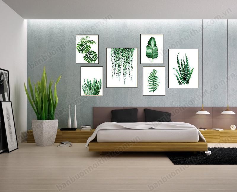 Mẫu tranh in hình lá cưng vải canvas cho căn phòng thêm xanh mát