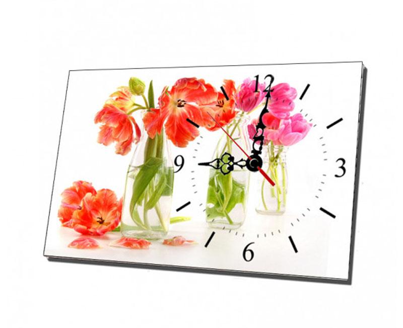 Mẫu tranh đồng hồ để bàn bình hoa tulip đẹp bắt mắt