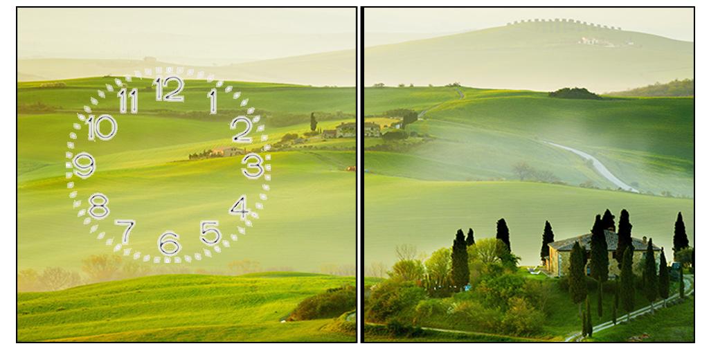 Tranh đồng hồ ghép 2 tấm phong cảnh Châu Âu tuyệt đẹp