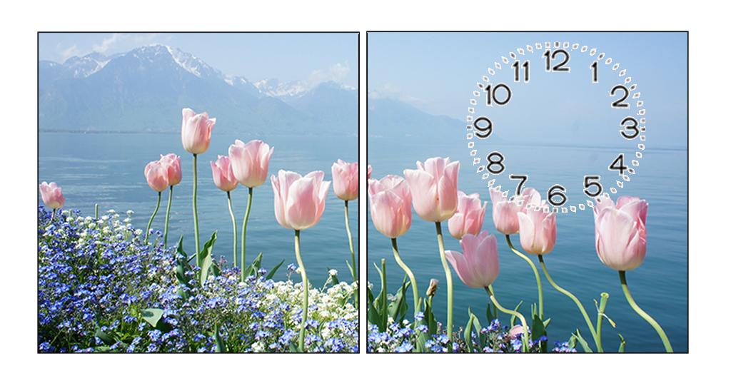 Tranh đồng hồ phong cảnh hoa tulip ghép 2 miếng có giá 300 nghìn đồng