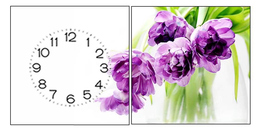 Bộ tranh đồng hồ 2 miếng hoa nghệ Tây kích thước 30x30cm