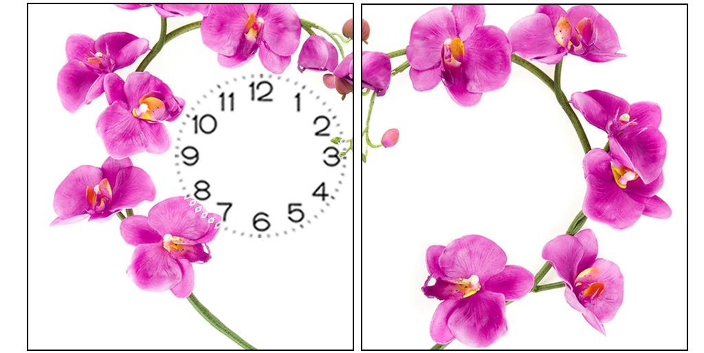 Tranh đồng hồ 2 tấm làm quà tặng hoa lan tím