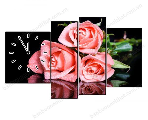 Tranh đồng hồ hoa hồng, món quà ý nghĩa tặng tân hôn