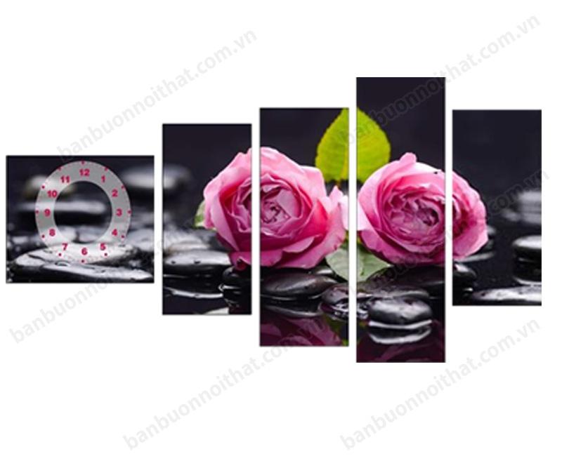 Tranh đồng hồ ghép bộ hoa hồng sang chảnh