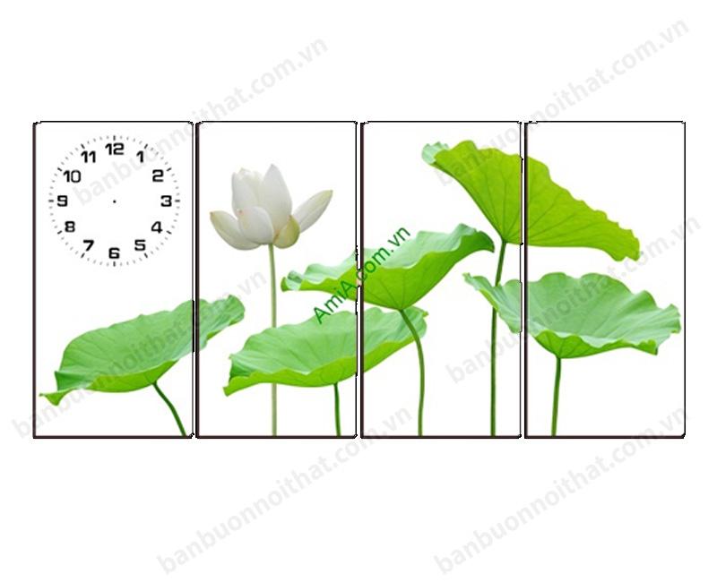 Mẫu tranh đồng hồ hoa sen trắng, vẻ đẹp tinh khôi, tĩnh tâm