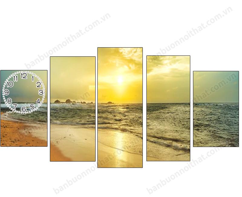 Tranh đồng hồ phong cảnh thiên nhiên bình minh trên biển