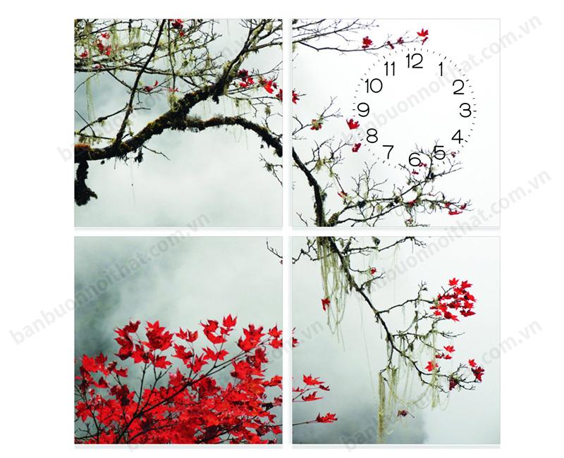 Tranh đồng hồ trang trí deco phong cảnh thiên nhiên ghép bằng 4 tấm